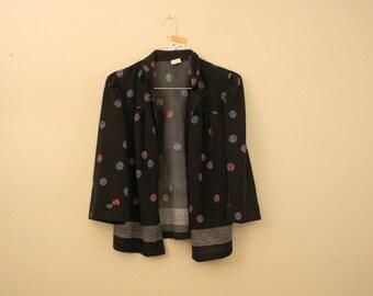 Seventies Circle Pattern Blazer Jacket *Flat Rate Shipping* [Cute Vintage Sportscoat Coat Officewear Women's Size Small] Polyester Unlined