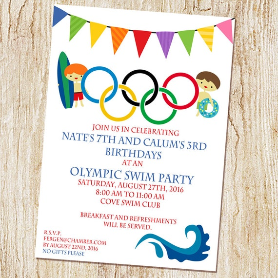 Olympic Swimming Party invitation Olympics Birthday