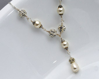 Bridal Necklace, Bridal Jewelry, Swarovski Pearl Necklace