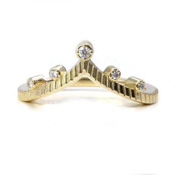 Gold and Diamond V Shaped Chevron Wedding Band - 14k Yellow, Rose or Palladium White Gold