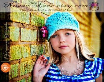 Crocheted Robins Egg Blue Newsboy Winter Hat, Turquoise Brimmed Hat with Flowers, Womens Blue Winter Newsboy Hat, Teen Girls Crochet Hat