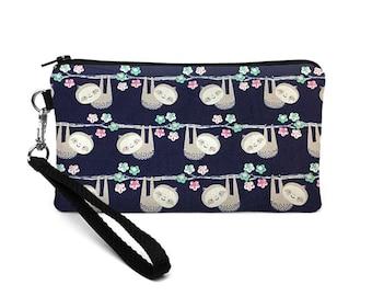 Animal Phone Bag, iPhone 8 Plus Wristlet, Cute Wrist Wallet, Smartphone Purse, Padded Phone Purse -  little sloths in navy blue