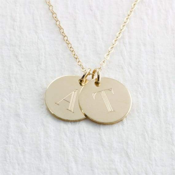 Engraved 14k solid gold initial necklace gold double initial engraved 14k solid gold initial necklace gold double initial pendant necklace 14k solid gold necklace personalized engraved necklace mozeypictures Images