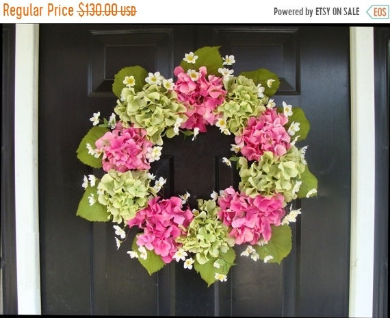 SPRING WREATH SALE Hydrangea Spring Wreath- Hydrangea Wreath- Summer Wreaths- Wedding Wreath- Spring Decor- Spring Wreath