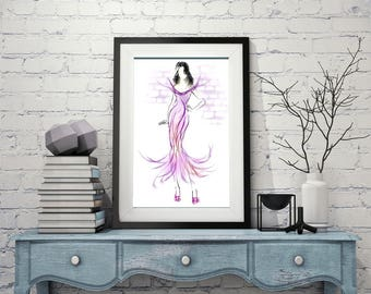 Fashion illustration, Pink fashion art, Pink dress sketch, Pink wall art, Fashion wall art, Fashion sketch, Fashion print, Pink dress print