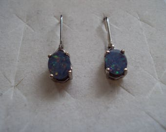 Australian Boulder Opal doublet 8x6mm Platinum over sterling silver setting earrings leverback