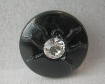 Black Glass Insect Button with Rhinestone Body