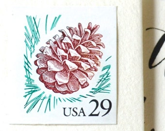 10 UNused Pinecone Postage Stamps for Mailing Invitations // Cards // Save the Dates
