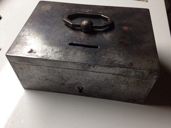 19th Century Locking Steel Strong Box with Key