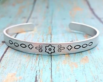 Mandala Bracelet - Mandala Jewelry - Cuff Bracelet - Mandala - Gift for Her - Skinny Cuff Bracelet - Gift for Women - Bracelet - Flower