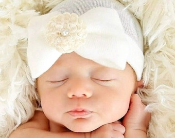 Newborn Hat Our Signature Hat! Baby's 1st Keepsake! With Pretty Bow/Flower & Pearl. The Mary. Choice of Flower.