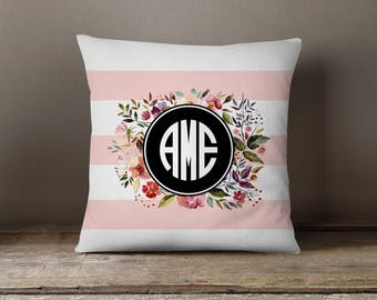 Throw Pillow, Pillow Cover,  Dorm Pillow Personalized Pillow, Monogram: Watercolor Flowers and Stripes One