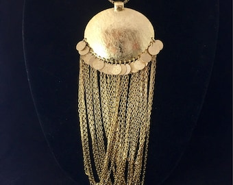 Vintage Grossé Sautoir Gold Necklace Etruscan revival Body Jewelry Large Gold Pendant Long Chain Dangle Waterfall Designer Runway Jewelry