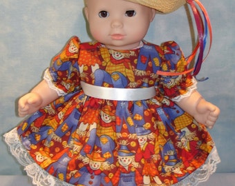15 Inch Doll Clothes - Fall Scarecrow Dress and Hat handmade by Jane Ellen to fit 15 inch baby dolls