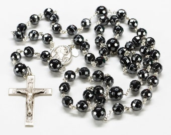 Hematite Crystal Rosary - Handmade Catholic Rosary for Men or Women - Sterling Silver Faceted Steel Gray Haematite Beads - Heirloom Rosaries
