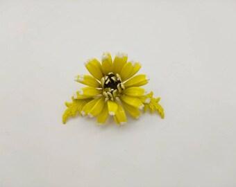 Yellow Lemon Petals enamel flower brooch Summer Fun