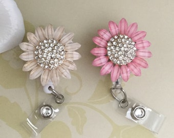 Large Rhinestone Sunflower Retractable ID Badge Reel, Flower Nurse Badge Reel, Flower Carabiner Badge Reel, Lanyard ,2 Colors To Choose From