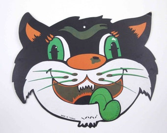 RESERVED 4 VANESSA Vintage Black Cat Face with Green Tongue Halloween Die Cut Decoration