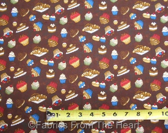 Coffee Escapes Cupcakes Pies Sweets on Coco Brown BY YARDS Henry Glass Fabric