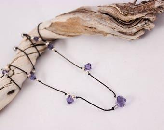 Tanzanite Crystal Necklace, Silk Cord, Swarovski Tanzanite Crystals and Sterling Silver