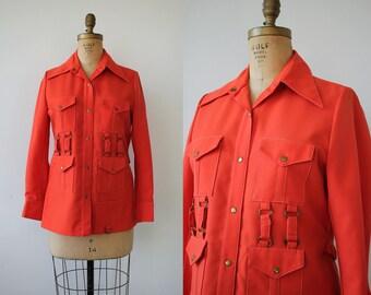 vintage 70s shirt / 1970s orange safari jacket / 70s bright orange snap button front shirt / SZ M Med Medium L Large