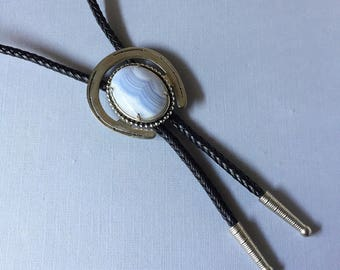 Vintage Southwestern Large Blue Lace Agate Horseshoe With Braided Leather Sliding Bolo Tie