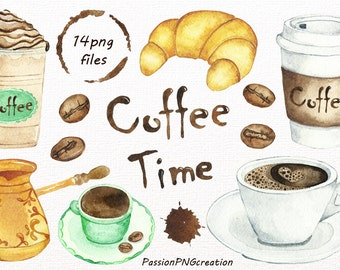 Watercolor Coffee Time Clipart, Digital coffee clip art, PNG, Coffee clip art, Watercolour, For Personal and Commercial Use