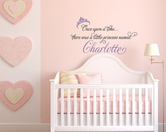 Beautiful Once Upon A Time Princess Wall Decal  Princess Crown Decal  Girl Name Wall  Decal