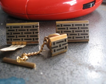 Retro 3 piece cufflink, tie tack set ~ made in West Germany