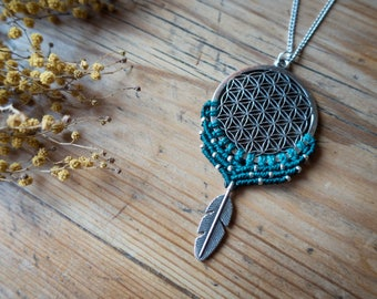 Macrame flower of life necklace, flower of life macrame necklace, bohemian flower of life necklace, mandala flower of life jewelry