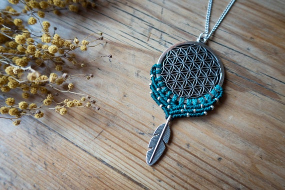 Flower of life feather necklace