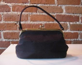 Vintage retro brown silk faille hand bag matching coin purse