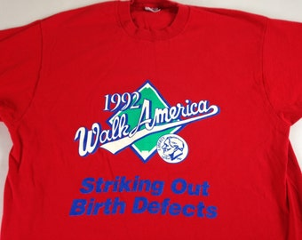 March of Dimes T-Shirt 1992 Walk America Striking Out Birth Defects Mens L/XL Baseball 90s USA Made 1st American Bank