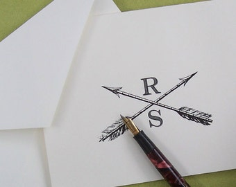 Personalized Crossed Arrows Monogrammed Stationery Note Cards Set 10 Vintage Inspired Graduation Gift Him or Her Hunting Archery Games