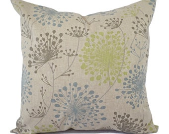 Two Brown Green and Blue Decorative Pillow Covers - Two Floral Throw Pillow Covers - Green Pillows - Spa Blue Pillow - Dandelion Pillow Sham