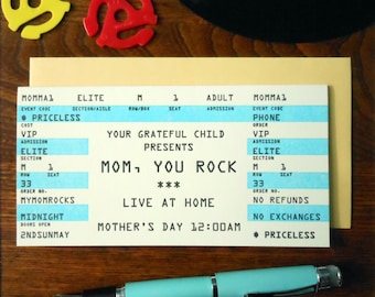 letterpress mom, you rock concert ticket greeting card mother's day bright blue & black