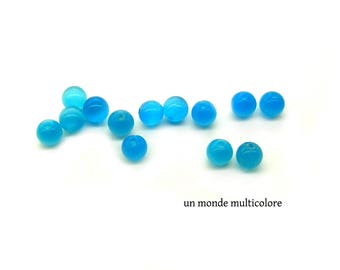10 round 8 mm blue water color cat eye glass beads