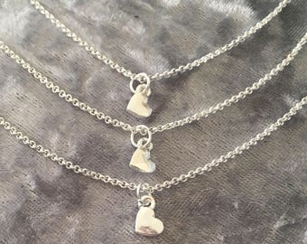 A Set of 3 Silver Mini Hearts Necklaces on 18 Inch Chains, Ideal for 3 sisters or Brothers or 3 Generations