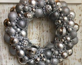 Silver Ornament - Christmas Decor - Christmas Ornament Wreath - Holiday Wreath - Christmas Wreath - Ornament Wreath