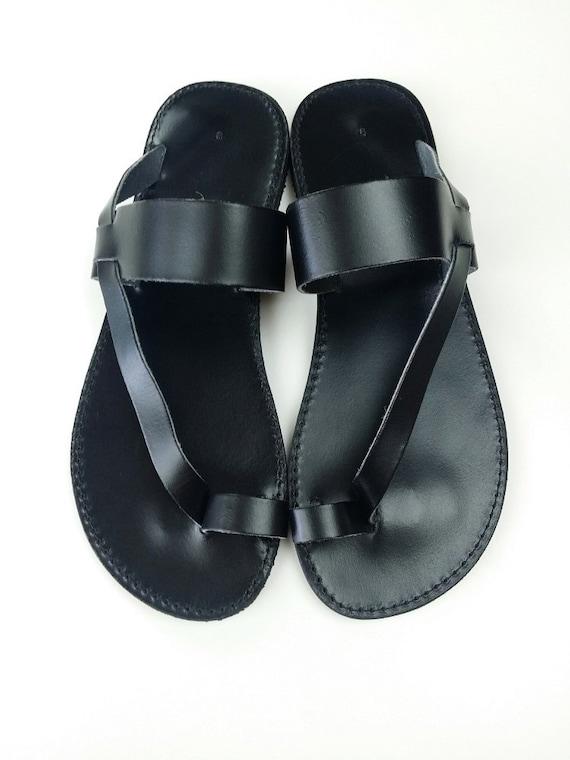 7e2837cd32b Men Sandals Toering Black Leather Flat Sandal Handmade