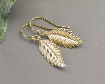 Gold Leaf Earrings - Dainty Earrings - Everyday Earrings for Women - Dainty Earrings - Leaf Jewelry - Minimalist Earrings - Outdoors Gift