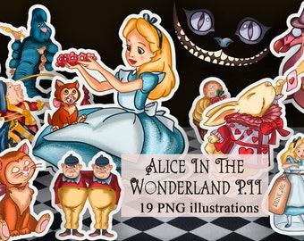Alice In Wonderland Clip Art - Alice In Wonderland Digital - Printable Clip Art - Rabbit - Tea Party - Chishire Cat -Wonderland -Queen -PNG