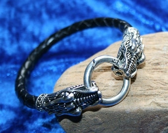 Dragon Leather Bracelet, Welsh Dragon with braided band, gift, men.