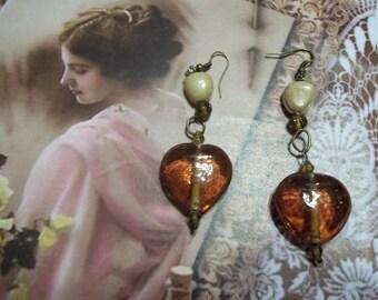 Beaded Glass Heart Earrings
