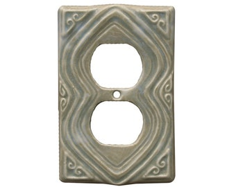 Ceramic Duplex Outlet Cover- Moroccan Design in oyster glaze