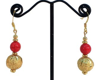 Sparkling Earrings, Red Earrings, Gold Earrings, Red Gold Earrings, Christmas Jewelry, Stocking Stuffers, Festive Earrings, Hypoallergenic