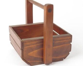 Handmade carved hard wood basket unsigned handcrafted vintage