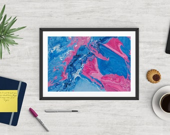 Abstract art print, glicee quality, limited edition, contemporary, Pink, blue and white