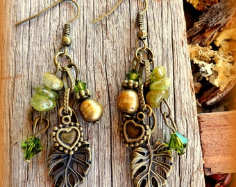 Earthy Earrings; Boho Earrings; Olive Green Earrings; Green Earrings; Hippie Earrings; Bohemian Earrings; Leaf Earrings; Australian Seller