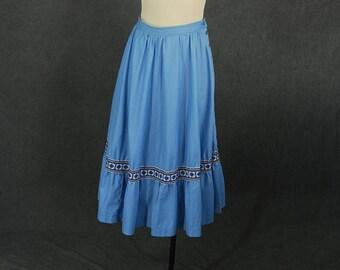 Clearance SALE vintage 70 Prairie Skirt - Sky Blue Midi Skirt - Ruffled High Waist Skirt Sz L